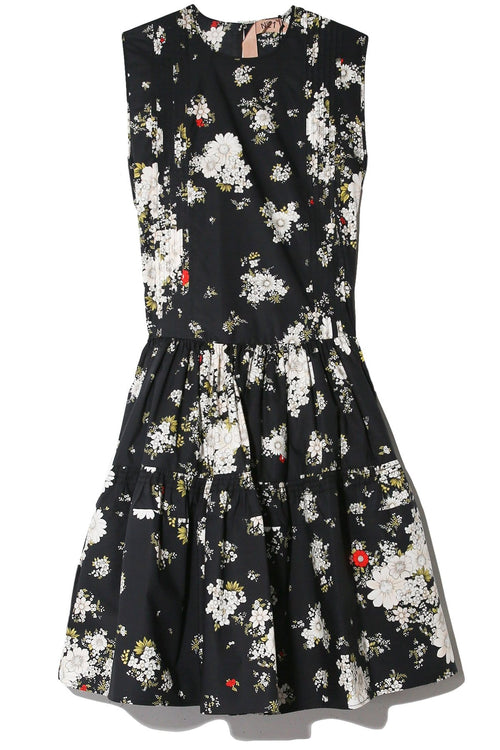 Sleeveless Floral Midi Dress in Nero