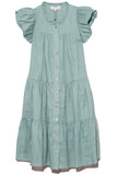 Shannon Scallop Button Down Dress in Sky