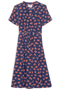 Rosemary Button Down Dress in Navy Red Starfish