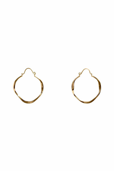 Small Open Wave Hoops in 14k Gold Plate