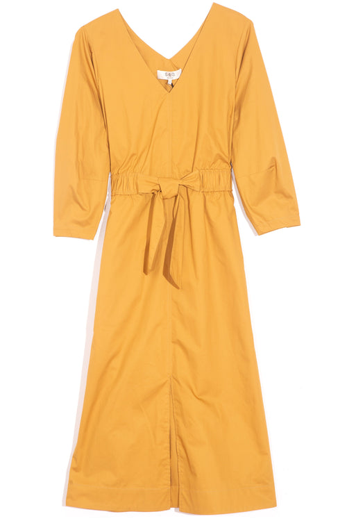 Gabriette Waist Tie Dress in Honey