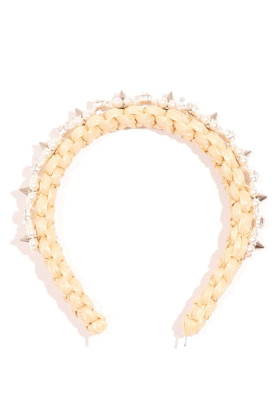 Raffia Headband with Beading in Tan/Pearl/Clear