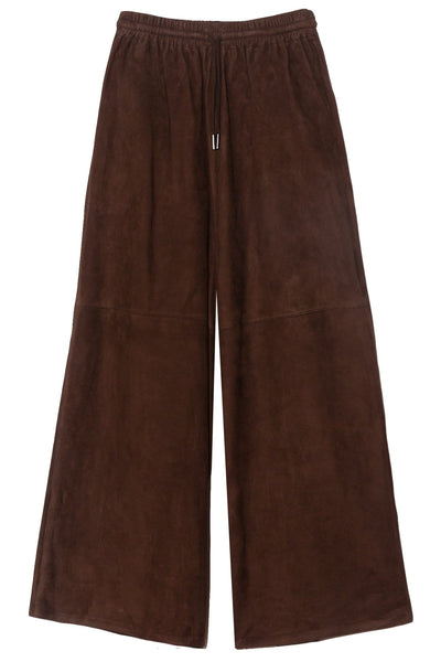Wide Leg Suede Pant in Brown