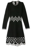 Long Sleeve Dress in Black/White