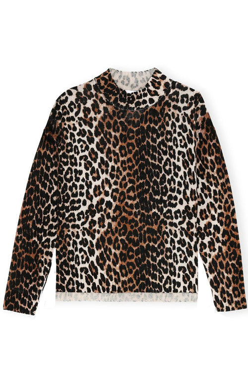 Knit Mock Neck Sweater in Leopard