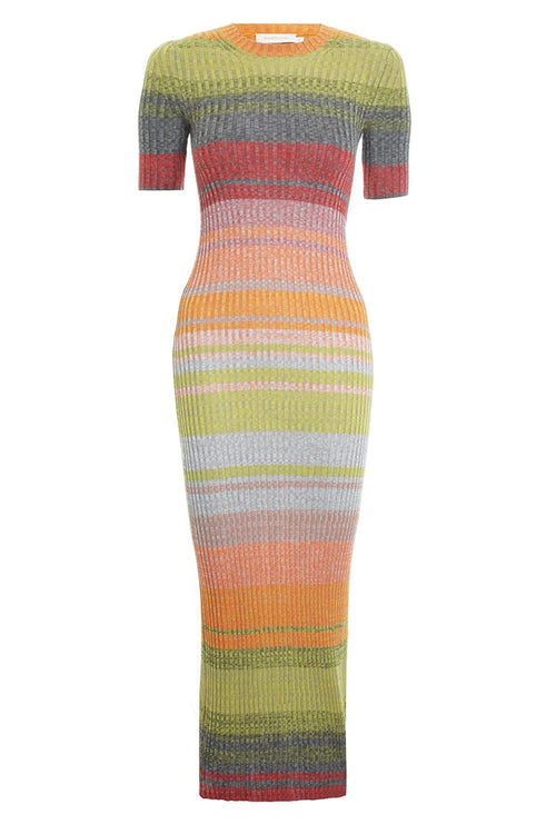 Brightside T-Shirt Knit Dress in Sunset Ombre