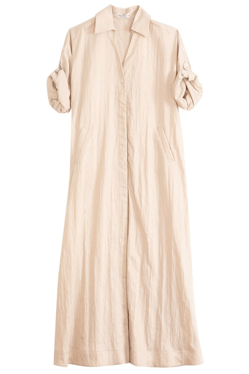 Viscose Twill Shirt Dress in Taupe