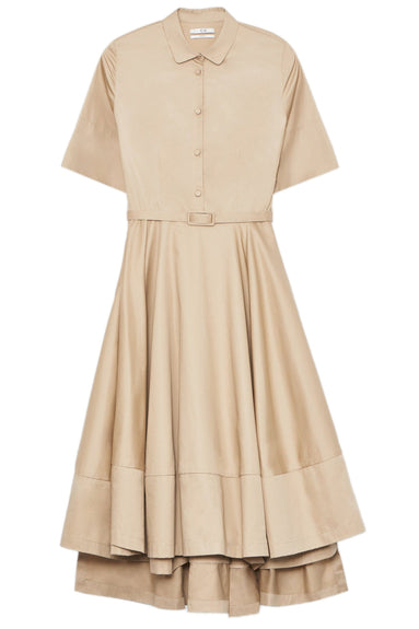 Short Sleeve Flared Dress in Taupe