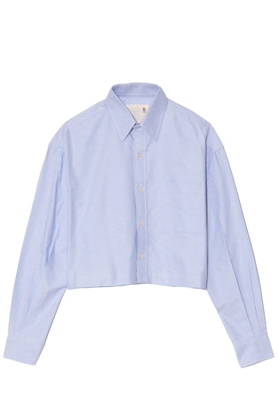 Oversized Cropped Button Up Shirt in Light Blue