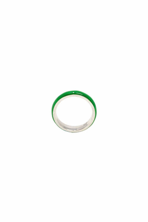Unicorn Rainbow Enamel Ring in Grass Green