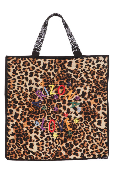 Embroidered Beach Bag in Leo Print/Black