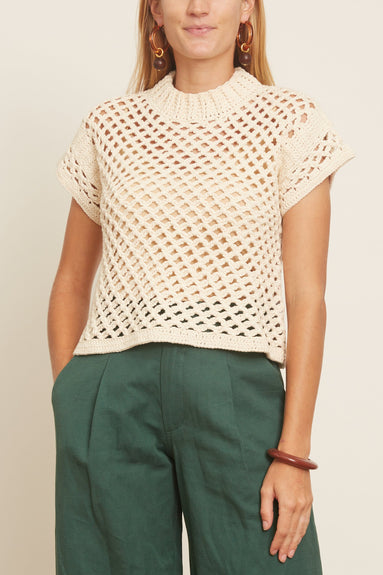 Ami Cropped Net Knit Top in Cream