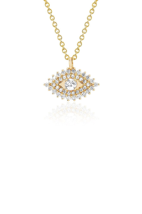Prong Set Evil Eye Necklace in Yellow Gold