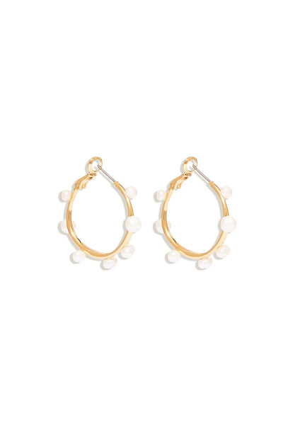 Mini Isla Pearl Hoop in White/Gold