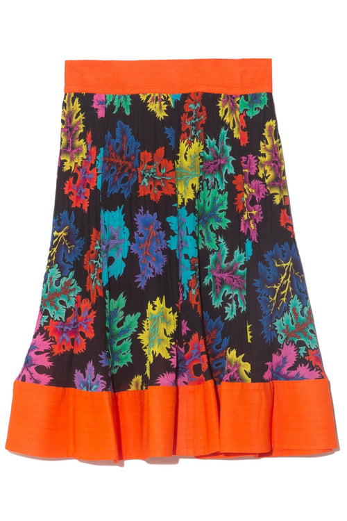 Short Venitian Skirt in Acid Leaves