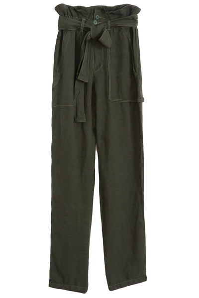 Josephine Paperbag Pant in Moss
