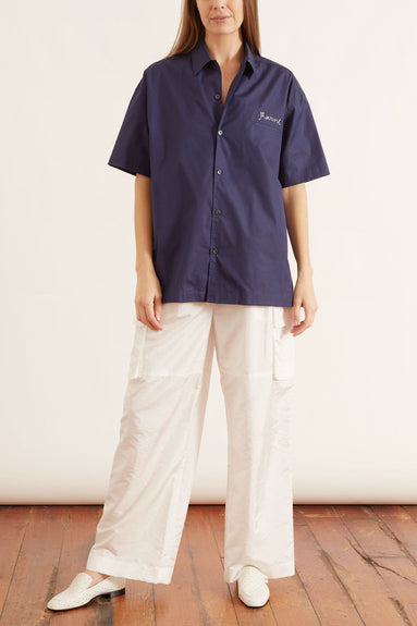 Short Sleeve Polo Button Up Top in Cornflower Blue