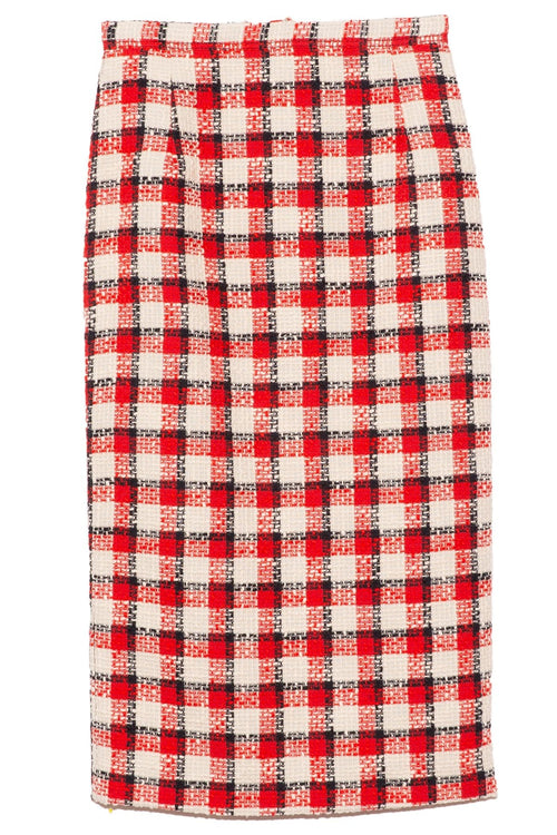 Plaid Pencil Skirt in White/Red