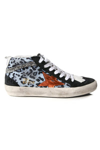 Mid Star Sneakers in Light Blue Leopard/Copper Star