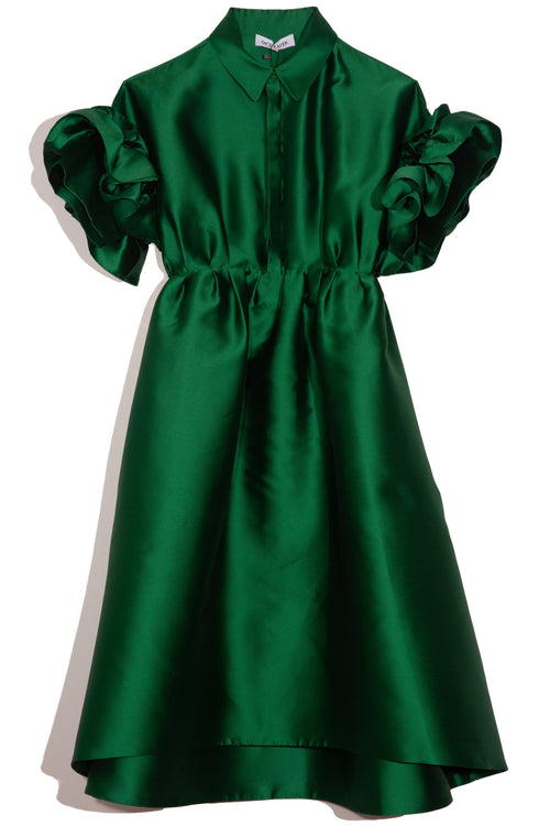 Collared Ruffle Sleeve Dress in Green