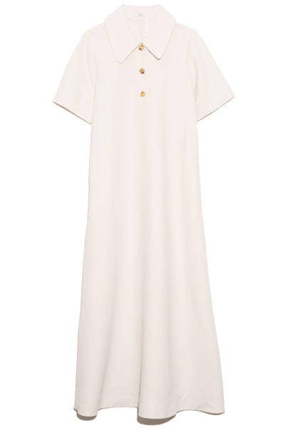Short Sleeve Polo Dress in Ivory