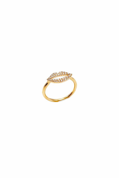 Pave Diamond Lip Ring in Rose Gold