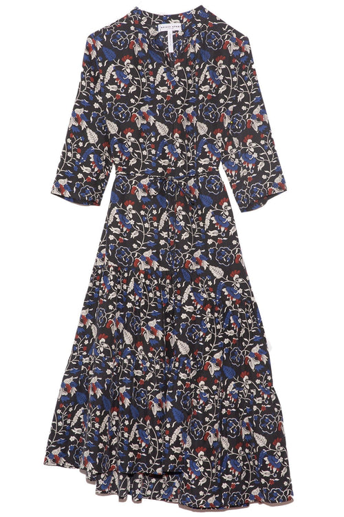 Shirred Agata Midi Dress in Vida East Floral