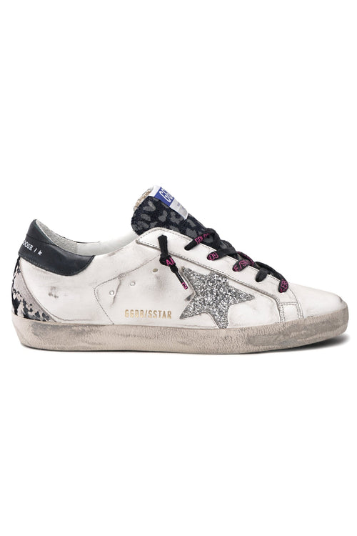 Superstar Sneaker in White/Indaco Leo/Silver/Black/Grey