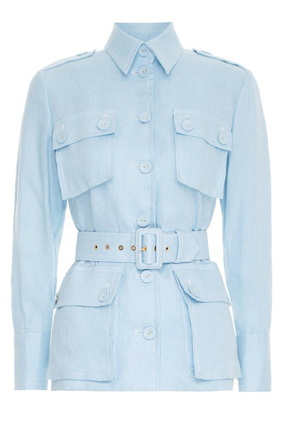 Glassy Utility Jacket in Powder Blue