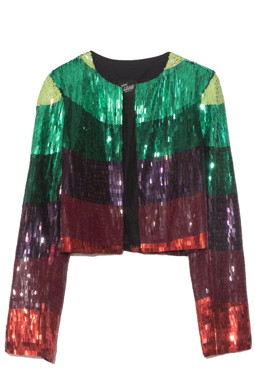 Embroidered Cardigan Jacket in Purple/Green