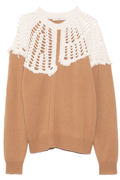 Lana Crochet Collar Pullover in Sand/White