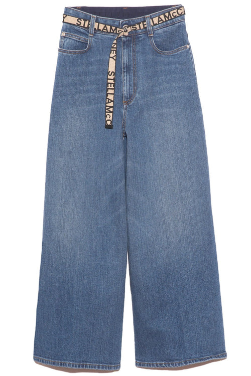 High Rise Crop Straight Jean with Logo Belt in Sky Blue