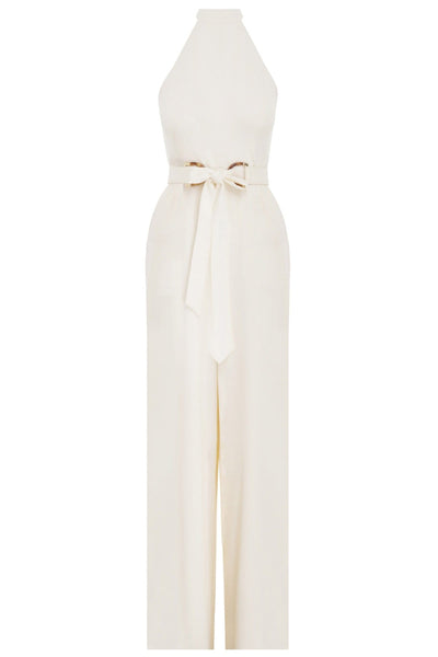 Crepe Belted Jumpsuit in Pearl