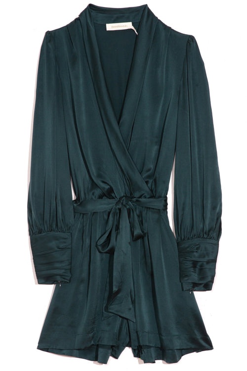 Silk Tie Playsuit in Moss