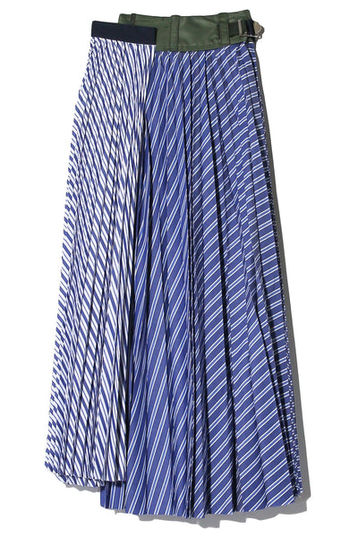 Cotton Poplin Pleated Skirt in Blue Stripe
