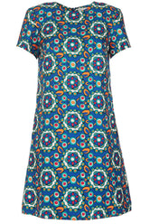 Mini Swing Dress in Kaleidoscope Bluette