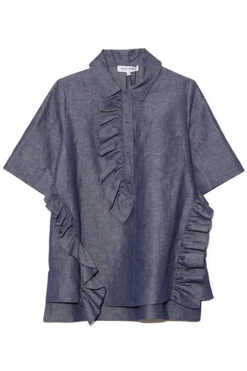 Asymmetrical Ruffled Top in Indigo
