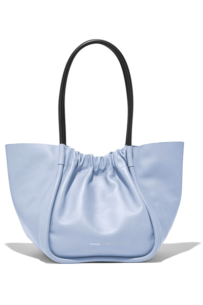 Large Ruched Smooth Leather Tote in Sky Blue