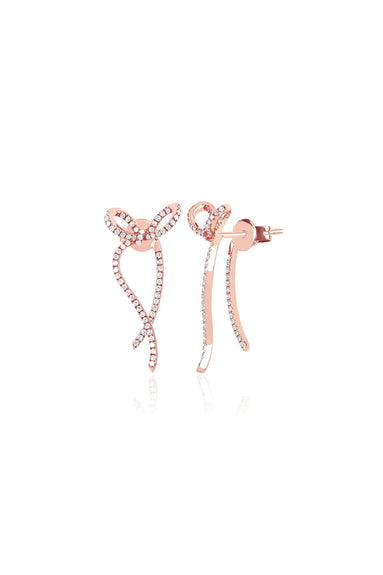 Diamond Ribbon Earring in Rose Gold