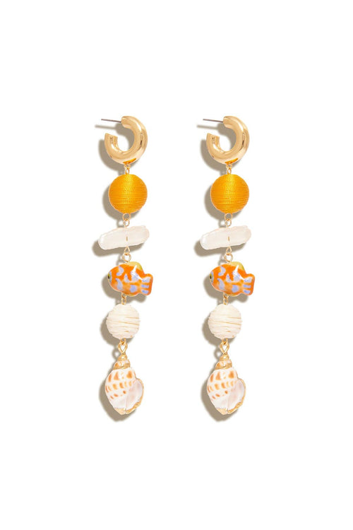 Lux Cora Hoop Dangle Earring in Orange Multi