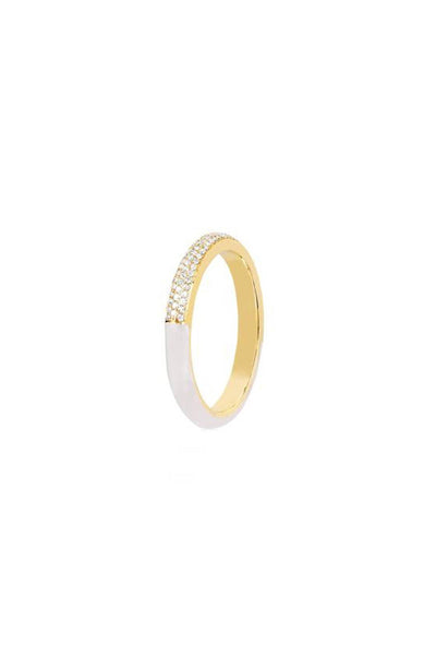 Two Tone Diamond and White Enamel Ring in Yellow Gold
