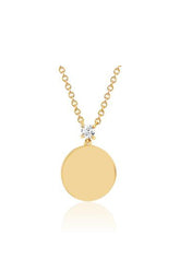 Prong Set Diamond Disc Necklace in Yellow Gold