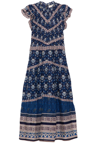 Brigitte Border Dress in Navy