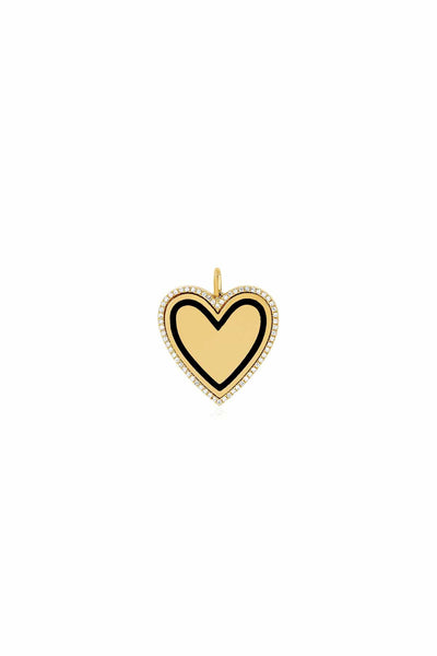 Diamond and Black Enamel Heart Necklace Charm