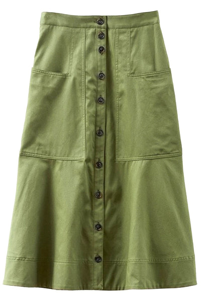 Harrison Chino Patch Pocket Skirt in Army Green