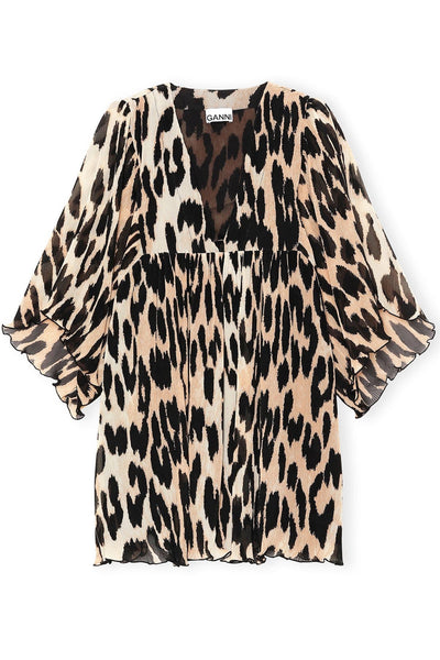 Pleated Georgette Dress in Maxi Leopard