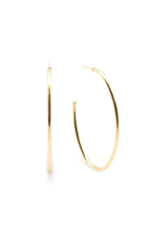 14K Gold Plain Hoops