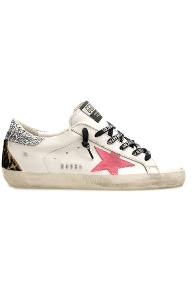 Superstar Sneaker in White/Fuchsia Fluo/Silver/Brown Leo