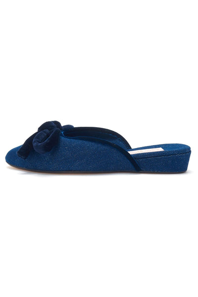 Daphne Bow Slipper in Recycled Denim