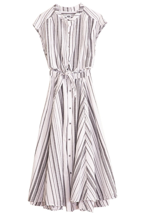Sally Front Tie Dress in Grey White Stripe